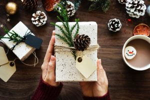 Unsplash, present, gift, Christmas, box, wrapping, hands, pinecones